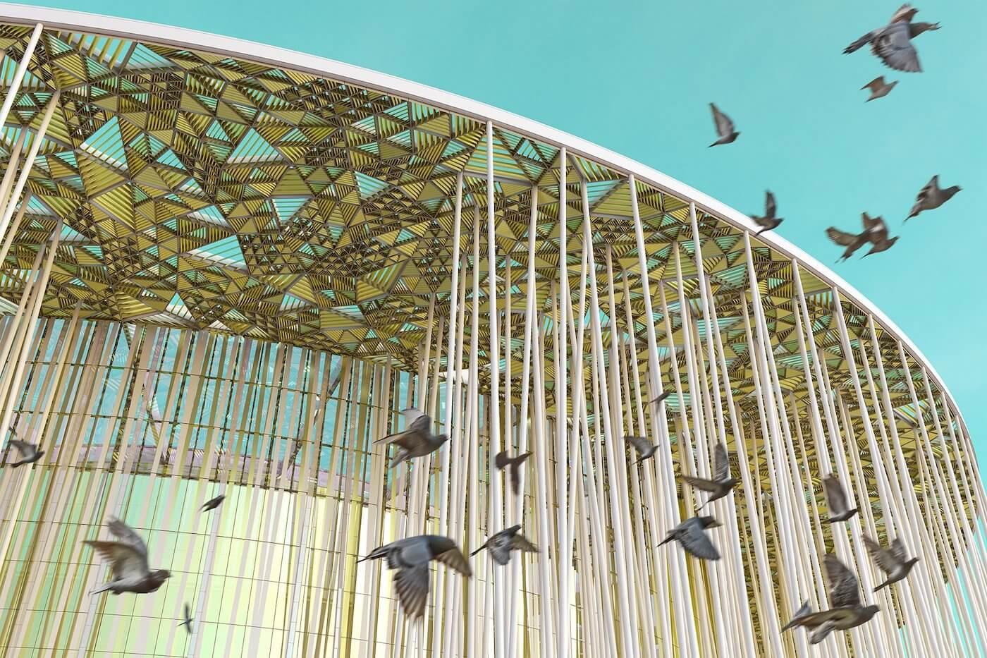 Phase Italia Blog - Il teatro ispirato ad una foresta di bambù - vista della tenda ombreggiante dell'edificio