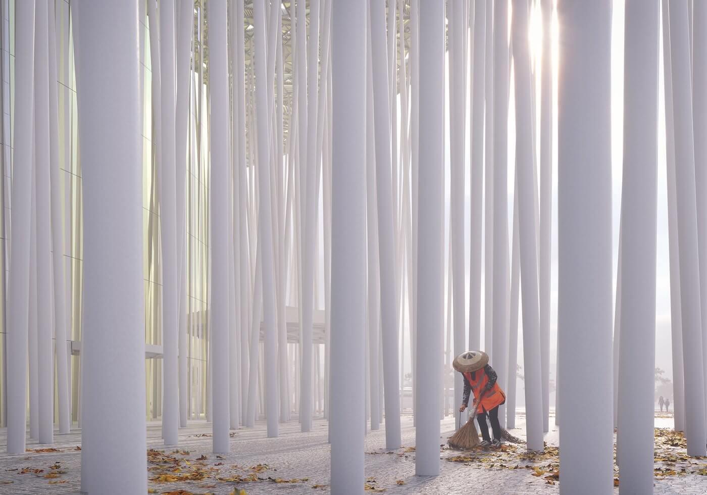 Phase Italia Blog - Il teatro ispirato ad una foresta di bambù - vista delle colonne dall'interno