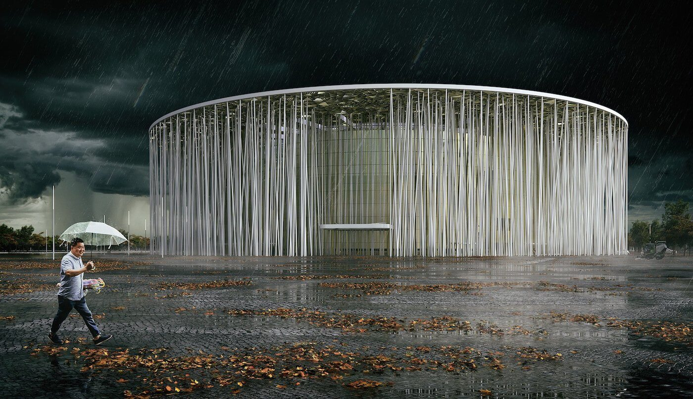 Phase Italia Blog - Il teatro ispirato ad una foresta di bambù - vista da fuori di notte