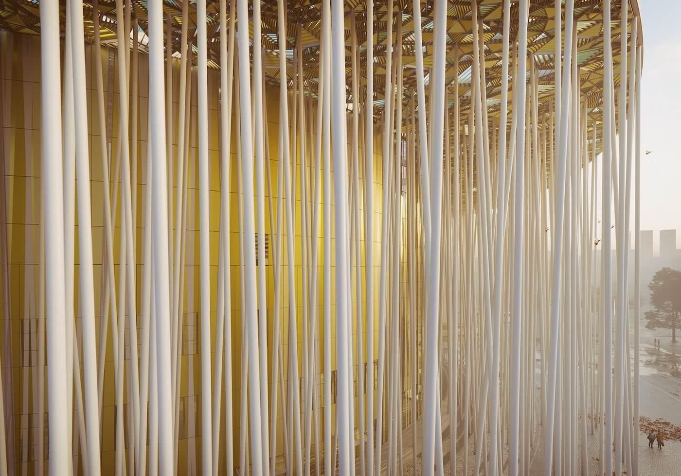 Phase Italia Blog - Il teatro ispirato ad una foresta di bambù - vista delle fitte colonne che formano una foresta di bambù