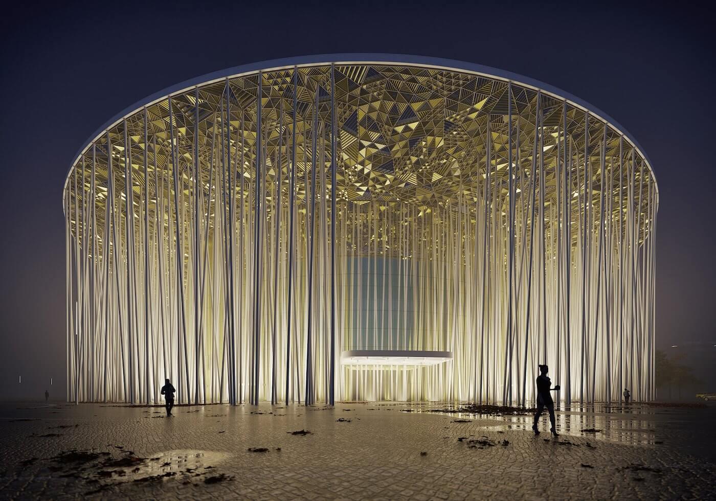 Phase Italia Blog - Il teatro ispirato ad una foresta di bambù - vista di notte del teatro