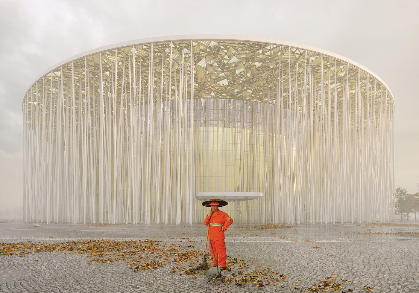 Phase Italia Blog - Il teatro ispirato ad una foresta di bambù - vista da fuori di giorno